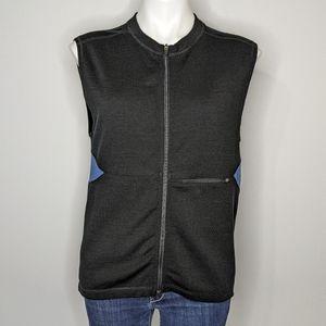 Ibex black blue superwash merino wool vest M
